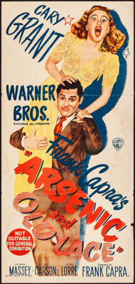 """Arsenic and Old Lace (Warner Brothers, 1944). Folded, Fine+. Australian Daybill (13"""" X 28""""). Comedy"""
