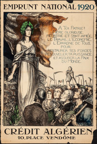 """French Recovery Loan (Crédit Algérien, 1920). Folded, Fine-. Poster (31.5"""""""" X 47"""") """"Na..."""