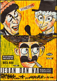 """A Day at the Races (1950s). Folded, Fine/Very Fine. First Release Yugoslavian Poster (19"""" X 27""""). Comedy"""