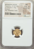 Ancients:Byzantine, Ancients: Theophilus (AD 829-842). AV semissis (14mm, 1.74 gm, 5h).NGC MS 4/5 - 4/5....