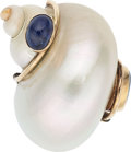 Estate Jewelry:Brooches - Pins, Shell, Sapphire, Gold Brooch, Patricia Schepps Vail for Seaman Schepps. ...