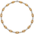 Estate Jewelry:Necklaces, Diamond, Gold Necklace The necklace features f...