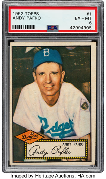 1952 Topps Andy Pafko Red Back 1 Psa Ex Mt 6