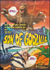 "Son of Godzilla (Toho, 1967). Folded, Fine+. International Japanese B1 (40.25"" X 28.5"") & Photos (10)..."
