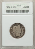 Barber Quarters: , 1896-S 25C VG8 ANACS. NGC Census: (35/97). PCGS Po...