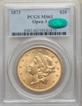 Liberty Double Eagles: , 1873 $20 Open 3 MS61 PCGS. CAC. PCGS Population: (2371/1812). NGC Census: (2481/1053). MS61. ...