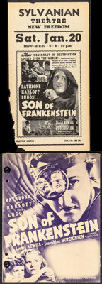 "Son of Frankenstein (Universal, 1939). Fine+. Herald (Folded: 8.5"" X 11"", Unfolded: 17"" X 11"") &..."