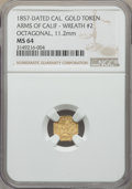 California Gold Charms, 1857 Arms of California, California Gold, Octagonal, Wreath #2, MS64 NGC. 11.2 mm....