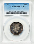Proof Barber Quarters, 1901 25C PR64 Cameo PCGS. PCGS Population: (13/46). NGC Census: (5/34). PR64. . From The William Rehwald Proof Set ...
