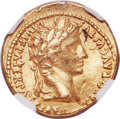 Ancients:Roman Imperial, Ancients: Augustus (27 BC-AD 14). AV aureus (20mm, 7.90 gm, 8h). NGC AU 5/5 - 2/5, ex-mount, bent....
