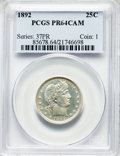 Proof Barber Quarters, 1892 25C PR64 Cameo PCGS. PCGS Population: (39/54). NGC Census: (19/58). PR64. Mintage 1,245. ...
