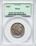 Proof Barber Quarters, 1897 25C PR64 PCGS. PCGS Population: (56/64). NGC Census: (54/85). PR64. Mintage 731. . From The William Rehwald Pr...