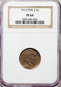 Proof Buffalo Nickels, 1913 5C Type Two PR64 NGC. NGC Census: (39/180). PCGS Population: (74/305). PR64. Mintage 1,514. . From The William...