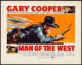 """Movie Posters:Western, Man of the West (United Artists, 1958). Folded, Very Fine-. HalfSheet (22"""" X 28"""") Style B. Western.. ..."""