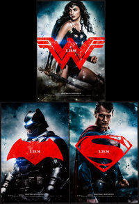 """Batman V Superman: Dawn of Justice (Warner Brothers, 2016). Rolled, Very Fine+. Mini Posters (3) (Approx. 11.5"""" X 1..."""