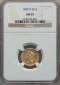 Liberty Quarter Eagles: , 1850-O $2 1/2 AU55 NGC. NGC Census: (78/72). PCGS Population: (24/37). CDN: $1,100 Whsle. Bid for problem-free NGC/PCGS AU5...