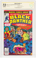 Bronze Age (1970-1979):Superhero, Black Panther #1 Double Cover - Witnessed Signature (Marvel, 1977)CBCS VF- 7.5 Off-white pages....