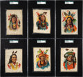 Non-Sport Cards:Sets, Circa 1910 S66 Indian Chiefs Silks Premiums SGC-Graded Complete Set (6). ...