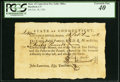 Colonial Notes:Connecticut, Connecticut Pay Table Office £40 Feb. 18, 1782 PCGS Extremely Fine 40.. ...