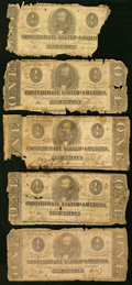 Confederate Notes:Group Lots, A Group of T55 (3) and T62 (2) $1 1862-63 Fair-Good. ... (Total: 5 notes)