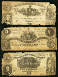 Confederate Notes:Group Lots, T30 $10 1861 PF-3 Cr. 239 Good;. T36 $5 1861 PF-4 Cr. 278 Good;. T37 $5 1861 PF-2 Cr. 285 Good.. ... (Total: 3 notes)