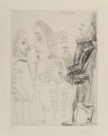 Fine Art - Work on Paper:Print, Pablo Picasso (1881-1973). Quatre hommes en costumerembranesque, from Séries 347, 1968. Etching on paper.22-3/4 x ...