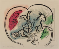 Marc Chagall (1887-1985) Le cour du cirque, 1967 Lithograph in colors on Arches paper 23 x 29-7/8