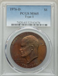 Eisenhower Dollars, 1976-D $1 Type One MS65 PCGS. PCGS Population: (1552/346). NGC Census: (1339/308). CDN: $21 Whsle. Bid for problem-free NGC...