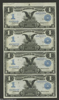 Large Size:Silver Certificates, Fr. 226a $1 1899 Silver Certificate Uncut Sheet Extremely Fine....