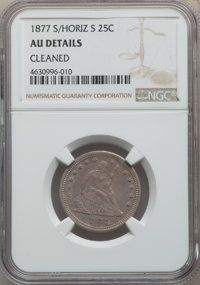 1877-S/S 25C Over Horizontal S -- Cleaned -- NGC Details. AU. NGC Census: (0/41). PCGS Population: (2/50). CDN: $450 Whs...