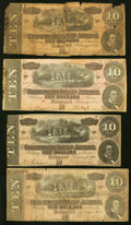 Confederate Notes:1864 Issues, T68 $10 1864 Four Examples Very Good or better.. ... (Total: 4 notes)
