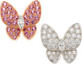 Estate Jewelry:Earrings, Diamond, Pink Sapphire, Gold Earrings, Van Cleef & Arpels . ...
