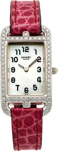 Estate Jewelry:Watches, Hermès Lady's Diamond, Mother-of-Pearl, White Gold Nantucket Watch....