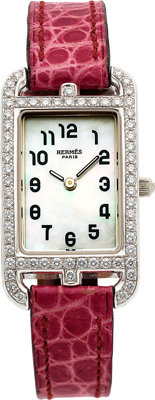Hermès Lady's Diamond, Mother-of-Pearl, White Gold Nantucket Watch