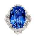 Estate Jewelry:Rings, Ceylon Sapphire, Diamond, Palladium Ring The r...