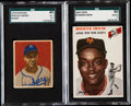 Baseball Cards:Lots, 1949 Bowman Hodges & 1954 Topps Irvin SGC Graded Pair PlusSigned 1950 Bowman Hank Bauer. ...
