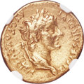 Ancients:Roman Imperial, Ancients: Tiberius (AD 14-37). AV aureus (19mm, 7.59 gm, 1h). NGCVF 4/5 - 2/5, ex-jewelry....