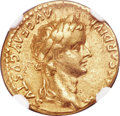 Ancients:Roman Imperial, Ancients: Tiberius (AD 14-37). AV aureus (19mm, 7.72 gm, 11h). NGCChoice VF 4/5 - 3/5, bankers mark....
