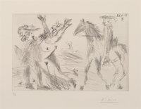 Pablo Picasso (1881-1973) Enlèvement, from Séries 347, 1968 Drypoint on Rives paper 5-