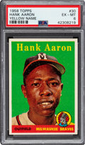Baseball Cards:Singles (1950-1959), 1958 Topps Hank Aaron (Yellow Name) #30 PSA EX-MT 6....