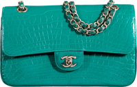 """Chanel Emerald Green Alligator Medium Double Flap Bag with Silver Hardware Condition: 2 10"""" Width"""