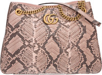 "Gucci Light Pink Python Matelassé Shoulder Bag with Gold Hardware Condition: 2 13.5"" Width x 10"""