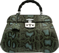 "Gucci Green & Blue Python Lady Lock Top Handle Bag Condition: 2 14"" Width x 11"" Height x 6"" Depth..."