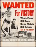 """Movie Posters:War, World War II Propaganda (U.S. Government Printing Office, 1942).Folded, Fine. Poster (20.25"""" X 27"""") """"Wanted for Victory."""" W..."""