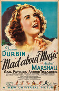"""Movie Posters:Musical, Mad About Music (Universal, 1938). Folded, Fine. One Sheet (26"""" X 40""""). Musical.. ..."""