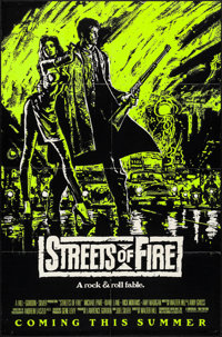 """Streets of Fire (Universal, 1984). Folded, Very Fine-. Day-Glo One Sheets (2) (27"""" X 41"""") Advance, 2 Styles. A..."""