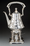 Silver & Vertu:Hollowware, An Austro-Hungarian Jugendstil Silver Kettle with Chafing Stand, Vienna, Austria, 1872-1922. Marks: KJ, (Dianakopf-A), (... (Total: 2 )