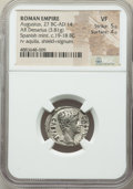 Ancients:Roman Imperial, Ancients: Augustus (27 BC-AD 14). AR denarius (20mm, 3.81 gm, 7h).NGC VF 5/5 - 4/5....