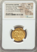 Ancients:Byzantine, Ancients: Heraclius (AD 610-641) and Heraclius Constantine. AVsolidus (22mm, 4.45 gm, 6h). NGC MS 3/5 - 3/5, die shift,scratches....