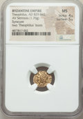 Ancients:Byzantine, Ancients: Theophilus (AD 829-842). AV semissis (13mm, 1.76 gm, 6h).NGC MS 4/5 - 5/5....